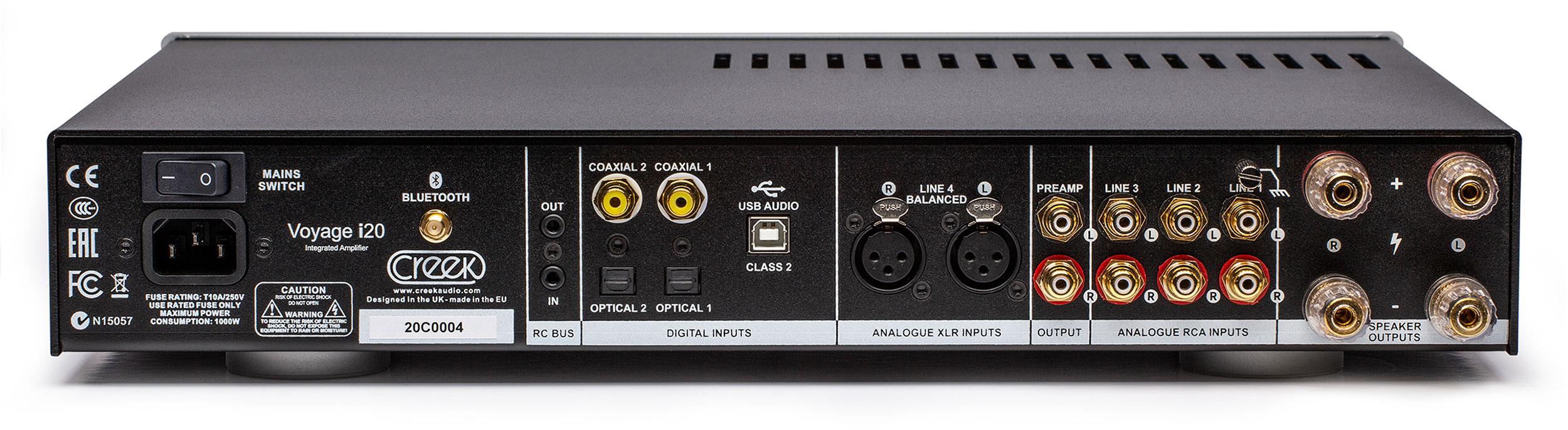 Creek-Voyage-i20-Silver-amplificatore-integrato ingressi audio pannello posteriore
